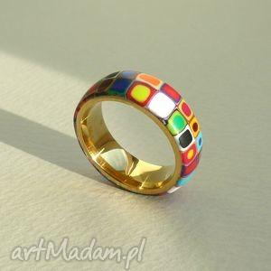 hand made obrączki kolorowa obrączka, stal z polymer