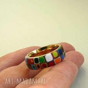 zielone obrączki pierścionki kolorowa obrączka, stal z polymer