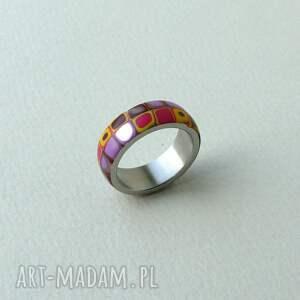 żółte obrączki pierścionki kolorowa obrączka, stal z polymer