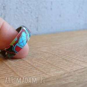 zielone obrączki pierścionki mozaikowa obrączka