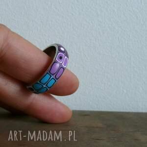fioletowe obrączki stalowa obrączka z polymer clay