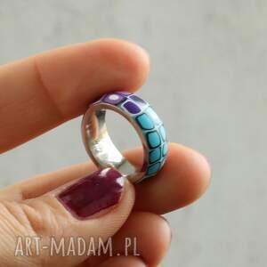 fioletowe obrączki obrączka z fimo i stali