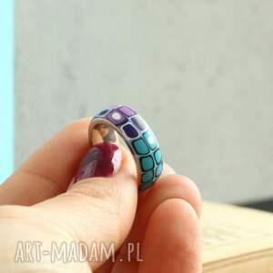 pierścionki obrączki turkusowe obrączka z fimo i stali