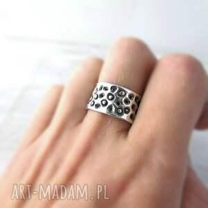 pomarańczowe obrączki pierścionek art clay silver