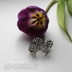 frapujące obrączki komplet srebrnych, ażurowych obrączek