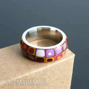 gustowne obrączki kolorowe stalowa obrączka z polymer clay