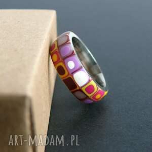 fioletowe obrączki pierścionki stalowa obrączka z polymer