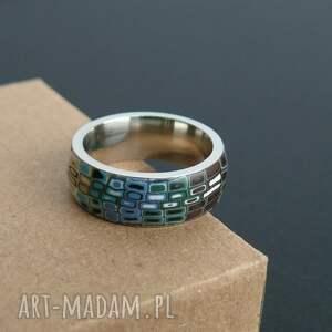 brązowe obrączki pierścionki stalowa obrączka z polymer clay