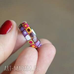 obrączki kolorowe stalowa obrączka z polymer clay