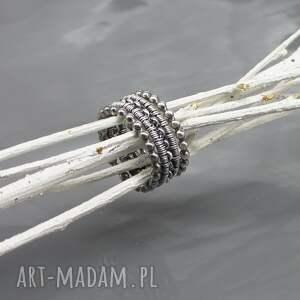 handmade obrączki pierścionek wired - zestaw srebrnych