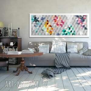niebieskie abstrakcja kwadraty 120x50