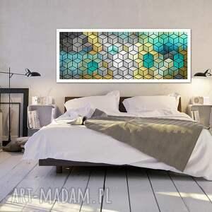 szare obrazy nowoczesny abstrakcja sześciany 120x50