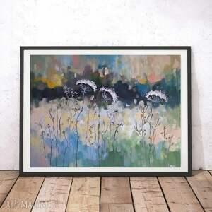 nietypowe abstrakcja abstrakcyjna łąka -obraz akrylowy