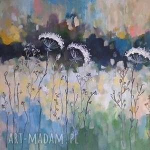 niebieskie obraz abstrakcyjna łąka - akrylowy