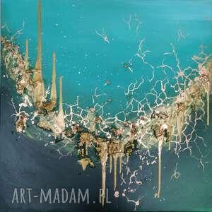 Art Is Hard Gallery abstrakcyjny obraz do salonu - pęknięty szmaragd - 80x80 cm - ręcznie abstrakcja
