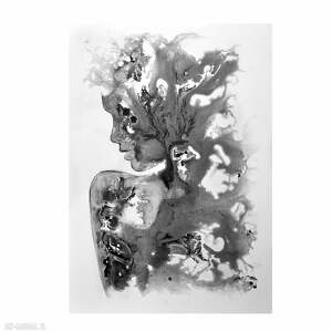 szare acqua di sensi, abstrakcja, obraz