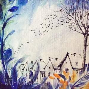 niebieskie obrazy akryl na płótnie, obraz kot nocny