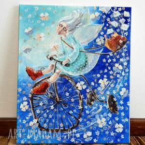 obrazy anioł na rowerze