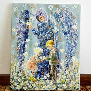 obrazy anioł stróż dzieci 65 x 80
