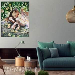brązowe anioł w sadzie obraz akrylowy