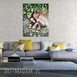 """obraz anioł zielone """"anioł w sadzie"""" wykonany farbami"""