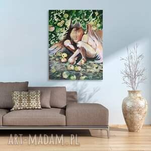 obraz na płótnie anioł w sadzie akrylowy