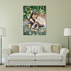 efektowne obraz na płótnie anioł w sadzie akrylowy