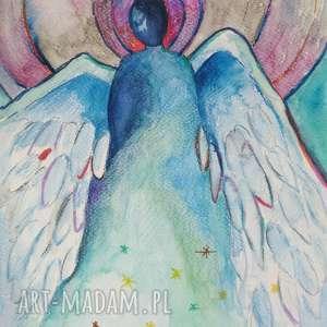 anioły cztery akwarele