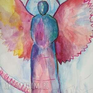 papier anioły cztery akwarele