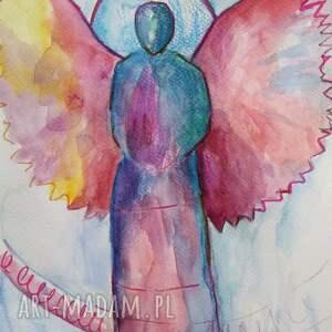 turkusowe anioły - dwie akwarele formatu