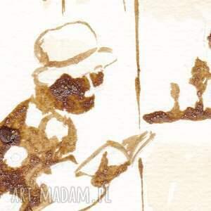 beżowe obrazy nostalgia babuszka - obraz kawą malowany