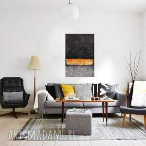 AleksandraB Bar of Gold, abstrakcja, nowoczesny obraz ręcznie malowany - nowoczesne