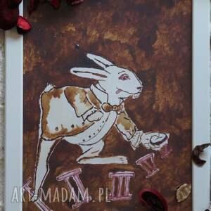 obrazy białykrólik biały królik - obraz kawą i piórem