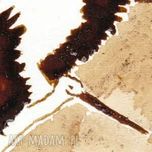 brązowe obrazy bocian bo znajdzie się - obraz kawą
