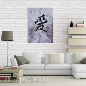białe obrazy znak chiński miłości - akryl na