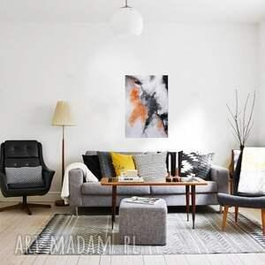 Copper cloud, abstrakcja, nowoczesny obraz ręcznie malowany - autorski
