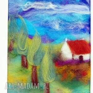 lawenda obrazy zielone domek wśród lawendy obraz
