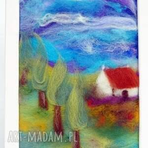turkusowe obrazy dom domek wśród lawendy obraz