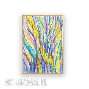 żółte abstrakcja drzewa rysunek oprawiony