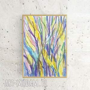 annasko drzewa rysunek oprawiony, nowoczesny w ramce, kolorowy szkic z drzewami malowany ręcznie