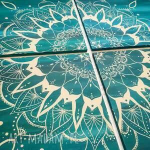 Duży obraz mandala turkus - ręcznie malowany