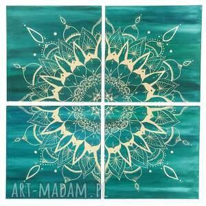 obrazy mandala-obraz duży obraz mandala turkus