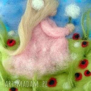 różowe obrazy dmuchawce dziewczynka z dmuchawcem. Obraz