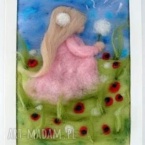 handmade obrazy obraz dziewczynka z dmuchawcem