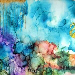 """złote abstrakcyjny obraz """"flaming w tęczowej mgle"""" autorstwa anny"""