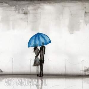 obrazy ręcznie malow niebieskie grafika 29x40 cm wykonana
