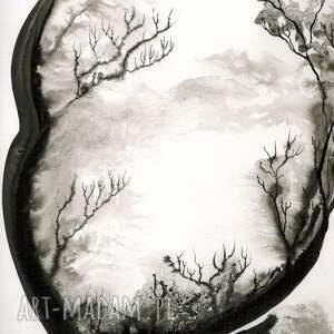 obrazy ręcznie malow białe grafika 50x70 cm wykonana