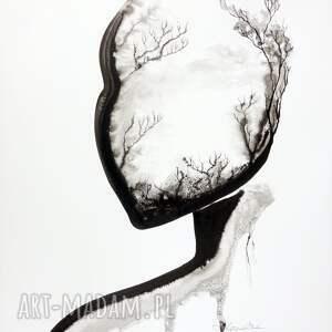 obrazy ręcznie malow malowany tuszem na naturalnie białym