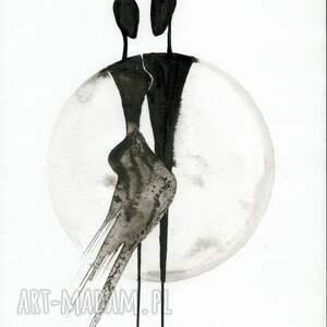 grafika A4 malowana ręcznie, minimalizm, abstrakcja czarno biała, ilustracja grafiki do salonu