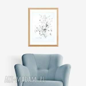 Grafika ręcznie wykonana czarno biała A4, elegancki minimalizm, do salonu malowany
